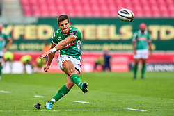 Tommaso Allan of Benetton Treviso kicks at goal<br /> <br /> Photographer Craig Thomas/Replay Images<br /> <br /> Guinness PRO14 Round 3 - Scarlets v Benetton Treviso - Saturday 15th September 2018 - Parc Y Scarlets - Llanelli<br /> <br /> World Copyright © Replay Images . All rights reserved. info@replayimages.co.uk - http://replayimages.co.uk