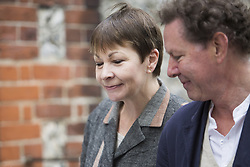 June 8, 2017 - Brighton, East Sussex, United Kingdom - Brighton, UK. MP and joint leader of the Green party Caroline Lucas arrives with her husband Richard and son Isaac at Florence Rd Baptist Church Hall in Brighton to vote in the General Election, today June 8th 2017. (Credit Image: © Hugo Michiels/London News Pictures via ZUMA Wire)
