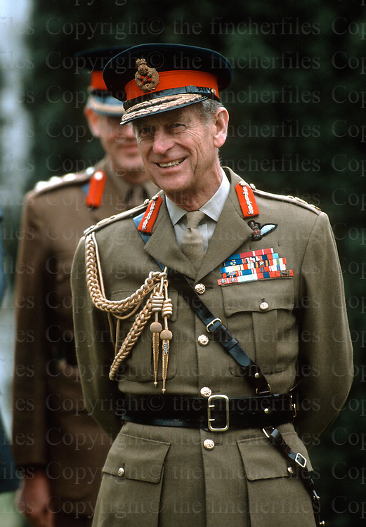 Prince Philip, The Duke of Edinburgh seen during a visit to Aldershot,UK Military in March 1991.