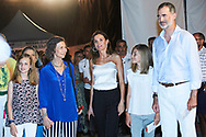 Crown Princess Leonor, Queen Sofia of Spain, Queen Letizia of Spain, Princess Sofia, King Felipe of Spain attends Ara Malikian Concert at Porto Adriano on August 2, 2018 in Mallorca, Spain