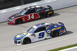 August 12, 2018 - Brooklyn, Michigan, United States of America - Chase Elliott (9) and Michael McDowell (34) battle for position during the Consumers Energy 400 at Michigan International Speedway in Brooklyn, Michigan. (Credit Image: © Chris Owens Asp Inc/ASP via ZUMA Wire)