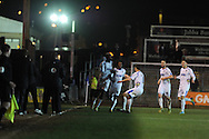 Wimbledon's Kevin Sainte-Luce (16) celebrates after he scores his sides 2nd goal.  Skybet football league 2 match, Newport county v AFC Wimbledon  at Rodney Parade in Newport, South Wales on Tuesday 25th Feb 2014.<br /> pic by Andrew Orchard, Andrew Orchard sports photography.