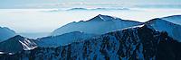High Tatra mountains vanish into mist, Poland/Slovakia