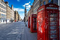 Edinburgh, Scotland, UK. 8 April 2020. Images from Edinburgh during the continuing Coronavirus lockdown. Pictured; View of an empty Royal Mile. Iain Masterton/Alamy Live News.