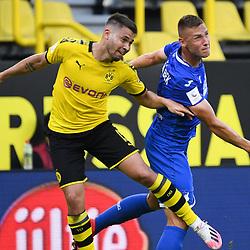 27.06.2020, xmeix, 1.Fussball Bundesliga, Borussia Dortmund - TSG 1899 Hoffenheim, empor. v.l.n.r, <br /> Raphael Guerreiro (Borussia Dortmund) gegen Pavel Kaderabek (TSG 1899 Hoffenheim)<br /> <br /> <br /> <br /> Foto: Sascha Meiser/APF/Pool/PIX-Sportfotos<br /> <br /> Nur für journalistische Zwecke!<br /> Only for editorial use!<br /> Nutzungsbedingungen: http://poolbilder.de/nutzungsvereinbarung.pdf<br /> <br /> Foto © PIX-Sportfotos *** Foto ist honorarpflichtig! *** Auf Anfrage in hoeherer Qualitaet/Aufloesung. Belegexemplar erbeten. Veroeffentlichung ausschliesslich fuer journalistisch-publizistische Zwecke. For editorial use only. DFL regulations prohibit any use of photographs as image sequences and/or quasi-video.