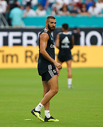 July 30, 2018 - Miami Gardens, Florida, USA - Real Madrid C.F. forward Karim Benzema during an open training session for the International Champions Cup match between Real Madrid C.F. and Manchester United F.C. at the Hard Rock Stadium in Miami Gardens, Florida. (Credit Image: © Mario Houben via ZUMA Wire)