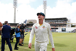 Australia's Captain Steve Smith celebrates winning the Ashes during day five of the Ashes Test match at the WACA Ground, Perth.