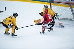 TOMAZEVIC Blaz vs Colin Furlong during Alps Hockey League match between HC Pustertal and HDD SIJ Jesenice, on April 3, 2019 in Ice Arena Podmezakla, Jesenice, Slovenia. Photo by Peter Podobnik / Sportida