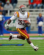 October 10, 2009:  Running back Alexander Robinson #33 of the Iowa State Cyclones rushes up field against the Kansas Jayhawks at Memorial Stadium in Lawrence, Kansas.  Kansas defeated the Cyclones 41-36.