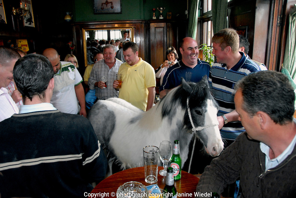 Horse dealers gathered inside Flanigan Arms pub in Wandsworth South London for annual bank holiday trading event.
