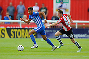 Hartlepool United defender Jake Carroll (3)  and Exeter City midfielder Jake Taylor (25) during the EFL Sky Bet League 2 match between Exeter City and Hartlepool United at St James' Park, Exeter, England on 13 August 2016. Photo by Graham Hunt.