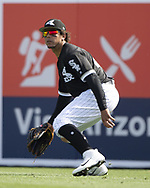 GLENDALE, ARIZONA - MARCH 04:  Jon Jay #45 of the Chicago White Sox fields against the Los Angeles Angels on March 4, 2019 at Camelback Ranch in Glendale Arizona.  (Photo by Ron Vesely)  Subject:  Jon Jay