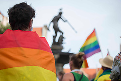 "© Licensed to London News Pictures 20/08/2020 Gdańsk,Poland. I am LGBT - is a motto for the rally in Gdańsk, northen Poland 'in the name of solidarity with people who are humiliated, insulted and deprived dignity' inspired by a member of the European Parliament Magdalena Adamowicz's post on Twitter. <br /> Gay rights are increasingly under threat in Poland endorsed by the government. <br /> Polish President Andrzej Duda has said the LGBT movement is ""more destructive"" than communism. The Polish government has frequently used inflammatory language against the LGBT community.<br /> Poland does not currently recognise same-sex unions - whether those are marriages or civil unions. Same-sex couples are also legally banned from adopting children. Photo credit: Marcin Nowak/LNP"