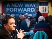 02 FEBRUARY 2020 - BOONE, IOWA: People wait for an Andrew Yang campaign event to start. More than 150 people crammed into a banquet room at La Carreta, a Mexican restaurant in Boone to see Andrew Yang on one of his last campaign events before the Iowa Caucuses. Yang, an entrepreneur, is running for the Democratic nomination for the US Presidency in 2020. He is in central Iowa finishing his 17 day bus tour across the state. Iowa hosts the the first election event of the presidential election cycle. The Iowa Caucuses will be on Feb. 3, 2020.      PHOTO BY JACK KURTZ