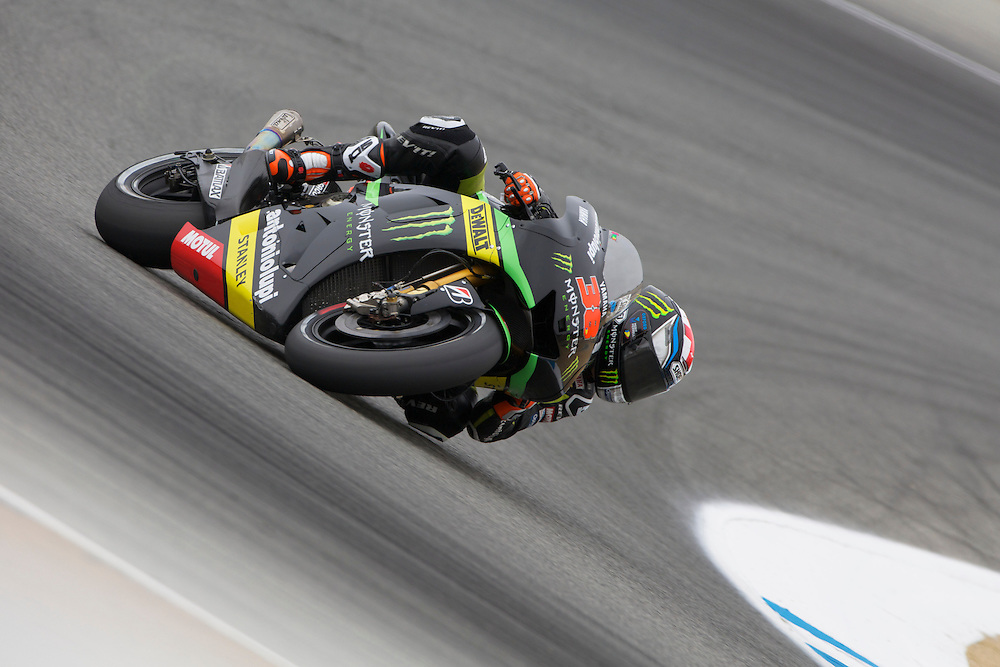 Bradley Smith in action on the track during todays free practice session recording the tenth quickest time<br /> <br />  (Photo by Tom Hnatiw/CameraSport) <br /> <br /> Motorcycle Racing - 2013 MotoGP - Round 9 - Red Bull U.S. Grand Prix - Mazda Raceway Laguna Seca - Monterey - California - USA - Day 1 - Friday 19th July 2013<br /> <br /> © CameraSport - 43 Linden Ave. Countesthorpe. Leicester. England. LE8 5PG - Tel: +44 (0) 116 277 4147 - admin@camerasport.com - www.camerasport.com