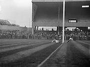 Irish Rugby Football Union, Ireland v Scotland, Five Nations, Landsdowne Road, Dublin, Ireland, Saturday 25th February, 1956,.25.2.1956, 2.25.1956,..Referee- H B Elliott, Rugby Football Union,..Score- Ireland 14 - 10 Scotland, ..P J Berkery, Wearing number 15 Irish jersey, Full back, Landsdowne Rugby Football Club, Dublin, Ireland,..W J Hewitt, Wearing number 14 Irish jersey, Right Wing, Instonians Rugby Football Club, Belfast, Northern Ireland,..N J Henderson, Wearing number 13 Irish jersey, Captain of the Irish team, Right centre, N.I.F.C, Rugby Football Club, Belfast, Northern Ireland,..A J O'Reilly, Wearing number 12 Irish jersey, Left Centre, Old Belvedere Rugby Football Club, Dublin, Ireland,  ..A C Pedlow, Wearing number 11 Irish jersey, Left Wing, Queens University Rugby Football Club, Belfast, Northern Ireland,..J W Kyle, Wearing number 10 Irish jersey, Outside Half, N.I.F.C, Rugby Football Club, Belfast, Northern Ireland,..J A O'Meara, Wearing number 9 Irish jersey, Scrum Half, Dolphin Rugby Football Club, Cork, Ireland, ..W B Fagan, Wearing number 1 Irish jersey, Forward, Wanderers Rugby Football Club, Dublin, Ireland, and, Moseley Rugby Football Club, Birmingham, England, ..R Roe, Wearing number 2 Irish jersey, Forward, London Irish Rugby Football Club, Surrey, England, and, Landsdowne Rugby Football Club, Dublin, Ireland,..B G Wood, Wearing number 3 Irish jersey, Forward, Garryowen Rugby Football Club, Limerick, Ireland, ..B N Guerin, Wearing  Number 4 Irish jersey, Forward, Bective Rangers Rugby Football Club, Dublin, Ireland, and, Galwegians Rugby Football Club, Galway, Ireland, ..L M Lynch, Wearing number 5 Irish jersey, Forward, Landsdowne Rugby Football Club, Dublin, Ireland, ..C T J Lydon, Wearing  Number 6 Irish jersey, Forward, Galwegians Rugby Football Club, Galway, Ireland, and, Monkstown Rugby Football Club, Dublin, Ireland, ..J R Kavanagh, Wearing number 7 Irish jersey, Forward, Wanderers Rugby Football Club, Dublin, Ireland, ..M J Cunningha