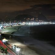 A night scene at dusk of Copacabana beach, Rio de Janeiro,  Brazil. 18th July 2010. Photo Tim Clayton..