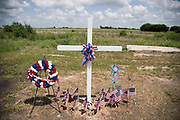 WEST, TEXAS - APRIL 14:  A memorial to the 15 lives lost in the 2013 fertilizer plant explosion sits across the street from the blast site in West, Texas on April 18, 2017. (Photo by Cooper Neill for The Washington Post)