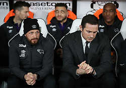 Derby County assistant manager Jody Morris and manager Frank Lampard during the Sky Bet Championship match at Pride Park, Derby.