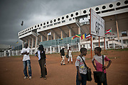 An exterior view of Barthélemy Boganda Stadium in Bangui. Named after the first president of the country, Barthélemy Boganda, it can hold up to 35,000 spectators. The stadium is one of the construction projects completed by China which strengthens its ties with African nations through investments.