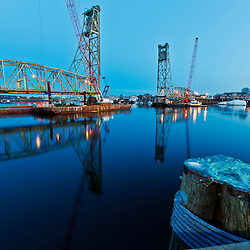 The Memorial Bridge, with middle span removed, over the Pisctaqua River in Portsmouth, New Hampshire.