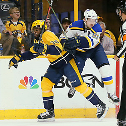 May 2, 2017 - Nashville, TN, USA - The St. Louis Blues' Vladimir Tarasenko, right, collides with the Nashville Predators' P.K. Subban in the first period during Game 4 of the Western Conference semifinals on Tuesday, May 2, 2017, at the Bridgestone Arena in Nashville, Tenn. (Credit Image: © Chris Lee/TNS via ZUMA Wire)