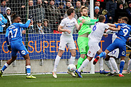 Peterborough Utd forward Matthew Godden (9) misses this chance at the near post during the EFL Sky Bet League 1 match between Peterborough United and Coventry City at London Road, Peterborough, England on 16 March 2019.