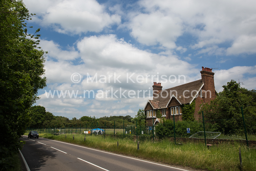 Wendover, UK. 16th June, 2021. Ground clearance works for the HS2 high-speed rail link continue alongside the A413. Large areas of land around Wendover in the Chilterns AONB have already been cleared of trees and vegetation for the HS2 rail infrastructure project in spite of concerted opposition from local residents and environmental activists.