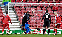 Photo: Jed Wee/Sportsbeat Images.<br /> Middlesbrough v Manchester City. The Barclays Premiership. 17/03/2007.<br /> <br /> Manchester City's Sylvain Distin scores the opening goal.