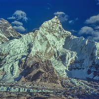 The Khumbu Glacier pours down from Mounts Everest and Nuptse in the Khumbu region of Nepal's Himalaya.