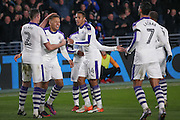 Newcastle United midfielder Mohamed Diame (15) scores a goal and his team mates celebrate to make the score 0-1 during the EFL Quarter Final Cup match between Hull City and Newcastle United at the KCOM Stadium, Kingston upon Hull, England on 29 November 2016. Photo by Simon Davies.