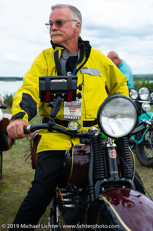 Bryan Bossier Sr on his 1930 Henderson 4-cylinder KL in Aune Osborne Park in Sault Sainte Marie, the site of the official start of the Cross Country Chase motorcycle endurance run from Sault Sainte Marie, MI to Key West, FL. (for vintage bikes from 1930-1948). Thursday, September 5, 2019. Photography ©2019 Michael Lichter.