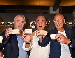 Robert De Niro, Nobu Matsuhisa and Meir Teper at the launch of Nobu Hotel London Shoreditch,10-50 Willow Street, London, England. 15 May 2018.