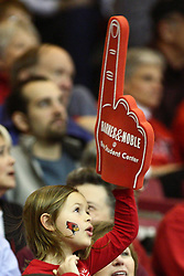 08 December 2012:  A young fan says the Redbirds are number 1 during an NCAA mens basketball game between the Western Michigan Broncos and the Illinois State Redbirds (Missouri Valley Conference) in Redbird Arena, Normal IL