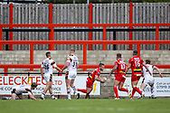 Dewsbury Rams loose forward Aaron Brown (13) gets free to score a try during the Kingstone Press Championship match between Dewsbury Rams and Bradford Bulls at the Tetley's Stadium, Dewsbury, United Kingdom on 10 September 2017. Photo by Simon Davies.