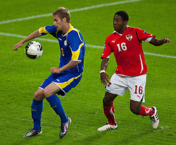 07.09.2010, Red Bull Arena, Salzburg, AUT, UEFA 2012 Qualifier, Austria vs Kazakhstan, im Bild Alexandr Kirov (FC Lokomotiv Astana, Kazakhstan, #3) vs David Alaba (FC Bayern München, Austria, #16), EXPA Pictures © 2010, PhotoCredit: EXPA/ G. Groder / SPORTIDA PHOTO AGENCY