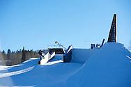 Gjermund Braaten during Snowboard Slopestyle Practice at 2014 X Games Aspen at Buttermilk Mountain in Aspen, CO. ©Brett Wilhelm/ESPN