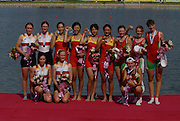 Beijing, CHINA.  A Final CHN JW4-, Bow, Hong LIU, Yan HAN, Chun TIAN and Ru ZHOU, gold medallist. at  the  2007. FISA Junior World Rowing Championships,  Shunyi Water Sports Complex. 11/08/2007 [Mandatory Credit Peter Spurrier/Intersport Images]..... , Rowing Course, Shun Yi Water Complex, Beijing, CHINA,