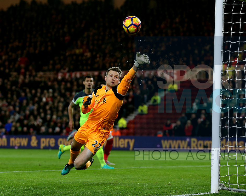 Simon Mignolet of Liverpool makes a flying save on his near post during the English Premier League match at the Riverside Stadium, Middlesbrough. Picture date: December 14th, 2016. Pic Simon Bellis/Sportimage