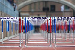 April 27, 2018 - Philadelphia, Pennsylvania, U.S - The hurdles await a race at Franklin Field in Philadelphia, Pennsylvania. (Credit Image: © Amy Sanderson via ZUMA Wire)