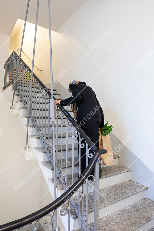 Elderly lady climbs the stairs with the bag heavy with market spending. We see the vegetables coming out. Poor woman, she suffers
