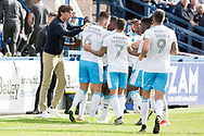 Crawley Town manager Gabriele Cioffi celebrate with Crawley Town forward Beryly Lubala's goal during the EFL Sky Bet League 2 match between Macclesfield Town and Crawley Town at Moss Rose, Macclesfield, United Kingdom on 7 September 2019.