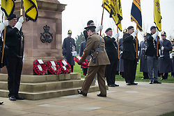 © Licensed to London News Pictures. 27/02/2016. <br /> <br /> Pictured: The Regimental Sergeant Major of 2 Mercian lays a wreath at The National Memorial Arboretum on Saturday 27th February 2016.<br /> <br /> A service has been held at The National Memorial Arboretum on Saturday 27th February 2016 to commemorate The Stafford Regiments participation in Operation Granby, a British military operation held in 1991 during the first Gulf War in which soldiers helped liberate Kuwait from Iraqi occupation ordered by Saddam Hussain.    <br /> <br /> Two Staffordshire Regiment soldiers, Private Carl Moult and Private Shaun Taylor were killed in Operation Granby.<br /> <br />  Photo credit should read Max Bryan/LNP