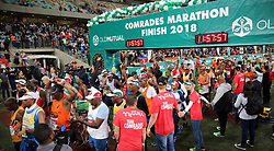 10062018 (Durban) A bus of athletesh who made it to the finnish line at the Mosses Mabhida stadium venue during the Comrades Marathon on Sunday as Bong'musa Mthembu and Ann Ashworth ensured that the coveted titles remained on these shores.<br /> Picture: Motshwari Mofokeng/African News Agency/ANA