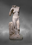 Roman statue of Aphrodite. Marble. Perge. 2nd century AD. Inv no 2014/196. Antalya Archaeology Museum; Turkey.  Against a grey background<br /> <br /> Aphrodite is an ancient Greek goddess associated with love, beauty, pleasure, and procreation. She is identified with the planet Venus, which is named after the Roman goddess Venus, with whom Aphrodite was extensively syncretized. Aphrodite's major symbols include myrtles, roses, doves, sparrows, and swans. .<br /> <br /> If you prefer to buy from our ALAMY STOCK LIBRARY page at https://www.alamy.com/portfolio/paul-williams-funkystock/greco-roman-sculptures.html . Type -    Antalya     - into LOWER SEARCH WITHIN GALLERY box - Refine search by adding a subject, place, background colour, museum etc.<br /> <br /> Visit our ROMAN WORLD PHOTO COLLECTIONS for more photos to download or buy as wall art prints https://funkystock.photoshelter.com/gallery-collection/The-Romans-Art-Artefacts-Antiquities-Historic-Sites-Pictures-Images/C0000r2uLJJo9_s0