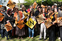 © Licensed to London News Pictures. 19/04/2017. London, UK. Supporters at a rally in Richmond attended by Liberal Democrat MP SARAJ OLNEY and Liberlal Democrat leader TIM FARROW in response the announcement of the General Election on June 8th 2017. Photo credit: Ray Tang/LNP