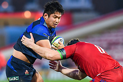 Kazuki Himeno of Japan is tackled by Dmitry Gerasimov of Russia <br /> <br /> Photographer Craig Thomas<br /> <br /> Japan v Russia<br /> <br /> World Copyright ©  2018 Replay images. All rights reserved. 15 Foundry Road, Risca, Newport, NP11 6AL - Tel: +44 (0) 7557115724 - craig@replayimages.co.uk - www.replayimages.co.uk