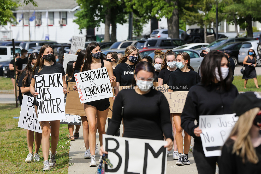 (6/3/20, HOLLISTON, MA) Marchers head down Woodland St. during a Black Lives Matter march in Holliston on Wednesday. [Daily News and Wicked Local Photo/Dan Holmes]