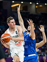 Edgaras Ulanovas of Lithuania vs Georgios Papagiannis of Greece during basketball match between National Teams of Lithuania and Greece at Day 10 in Round of 16 of the FIBA EuroBasket 2017 at Sinan Erdem Dome in Istanbul, Turkey on September 9, 2017. Photo by Vid Ponikvar / Sportida