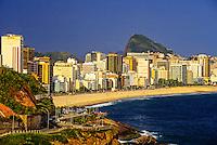 View of Leblon beach from Vidigal Beach, Rio de Janeiro, Brazil